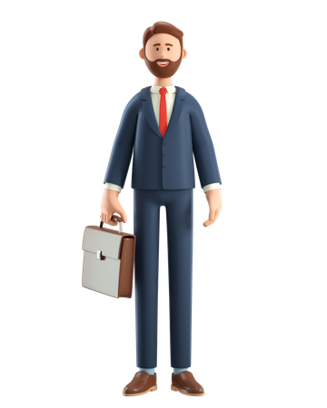 Businessman in suit with briefcase 3D Illustration