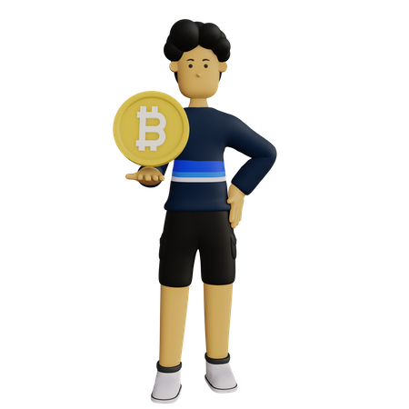 Businessman investing in bitcoin 3D Illustration