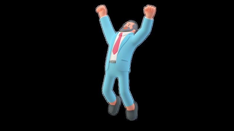 Businessman jumping out of joy 3D Illustration