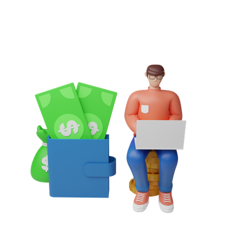 Businessman earning money 3D Illustration