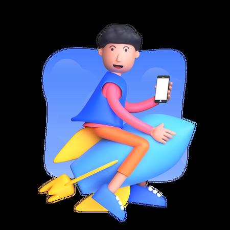 Businessman launching new business 3D Illustration