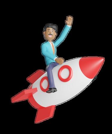 Businessman launching new startup 3D Illustration