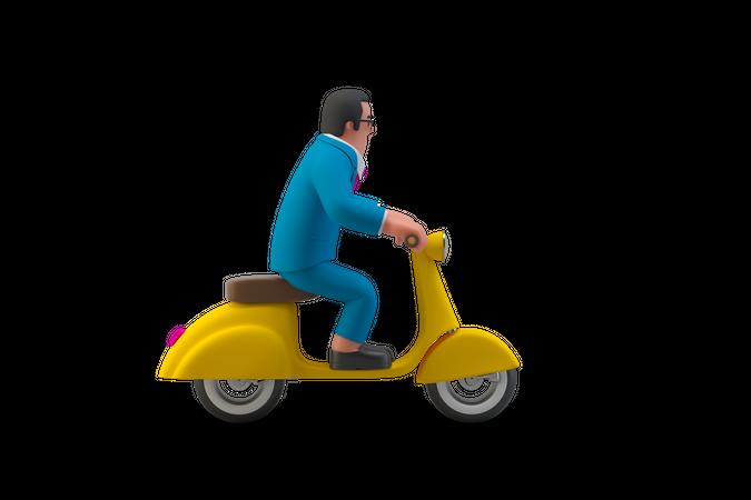 Businessman on a scooter 3D Illustration