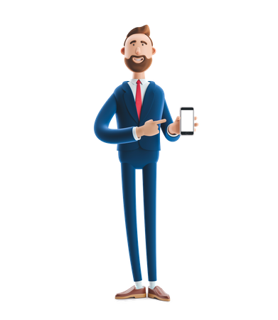 Businessman Presenting blank screen of Smartphone in advertising concept 3D Illustration