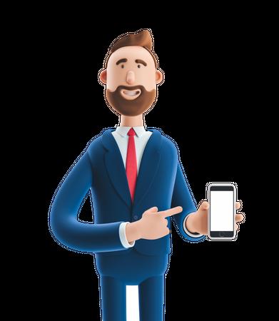 Businessman Presenting Smartphone 3D Illustration