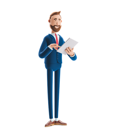 Businessman Reading Business Notes 3D Illustration