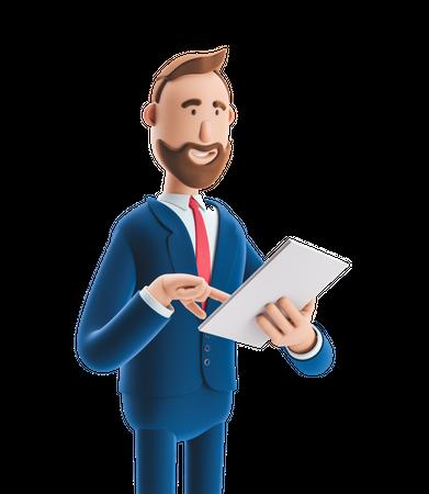 Businessman Reading Business report 3D Illustration