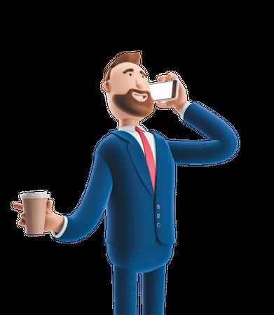 Businessman relaxing during break time 3D Illustration