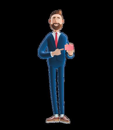 Businessman Showing Advertising Card 3D Illustration