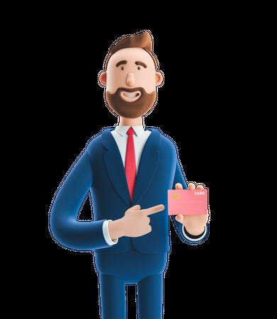 Businessman Showing Credit Card 3D Illustration