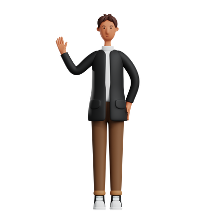 Businessman showing greeting gesture 3D Illustration