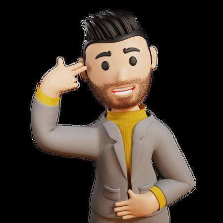 Businessman showing hand gun gesture 3D Illustration