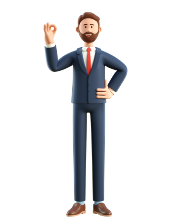 Businessman showing ok gesture 3D Illustration