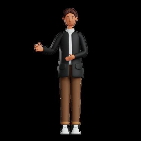 Businessman showing something 3D Illustration