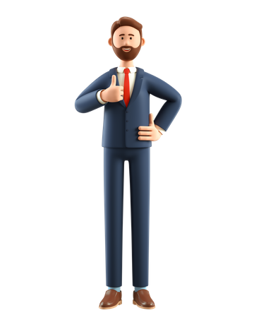 Businessman showing thumbs up hand gesture 3D Illustration