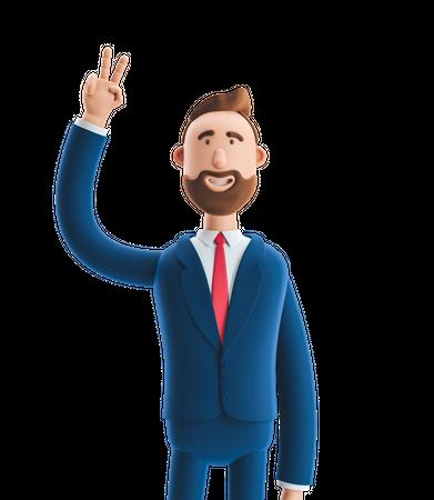 Businessman Showing Victory Sign 3D Illustration