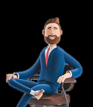 Businessman Sitting on Office chair 3D Illustration