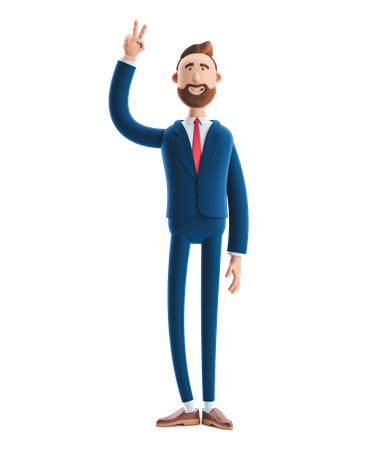 Businessman Standing with victory Sign 3D Illustration