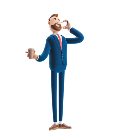 Businessman Talking on Phone holding coffee cup 3D Illustration