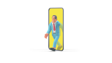 Businessman walking out of smartphone
