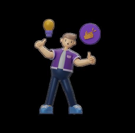 Businessman with idea 3D Illustration