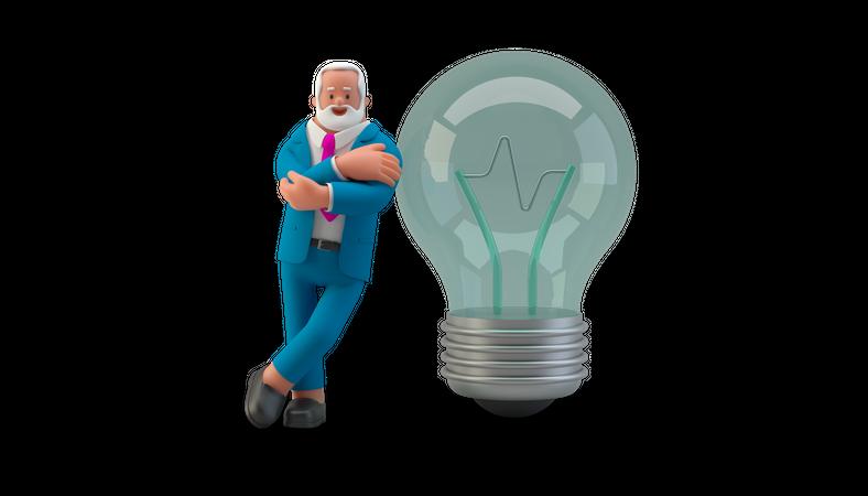 Businessman with light bulb 3D Illustration