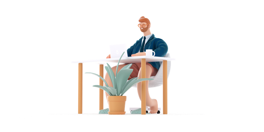 Businessman working from home 3D Illustration