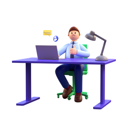 Businessman working in office 3D Illustration