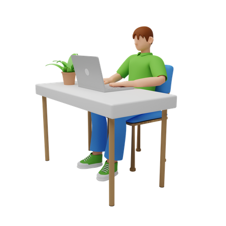 Businessman working on computer 3D Illustration