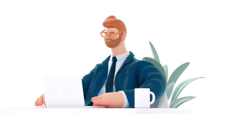 Businessman working on laptop 3D Illustration