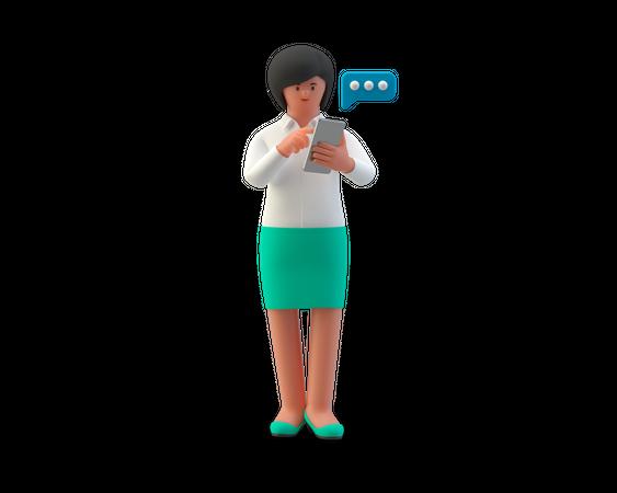 Businesswoman chatting on smartphone 3D Illustration