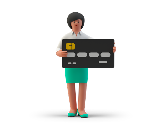 Businesswoman hold credit card in hand 3D Illustration