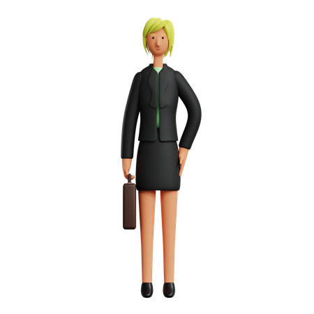 Businesswoman Holding Briefcase 3D Illustration