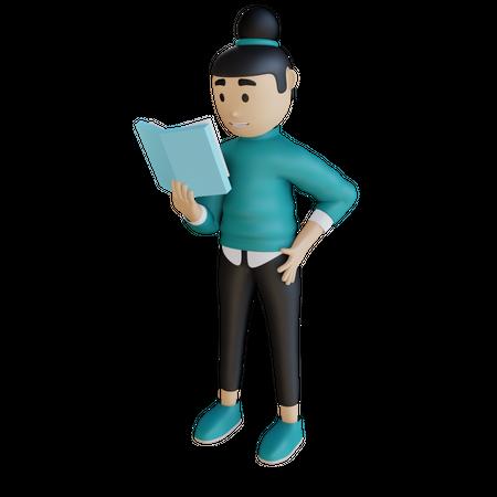 Businesswoman Reading Book 3D Illustration