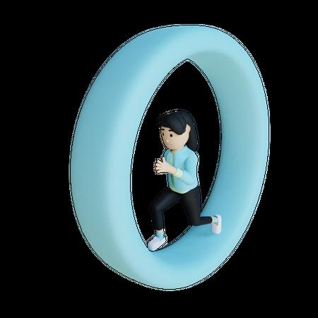 Businesswoman Running on the loop 3D Illustration