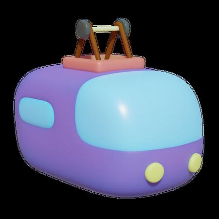 Cable Car 3D Illustration