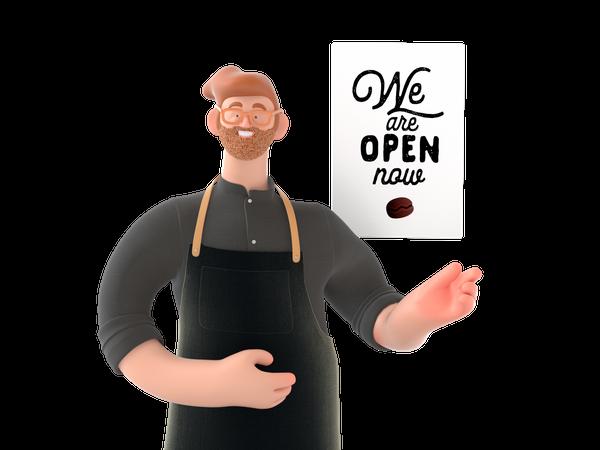 Cafe owner showing we are open 3D Illustration