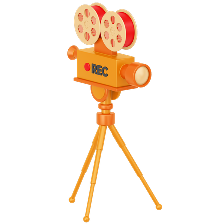 Camera With A Tripod 3D Illustration