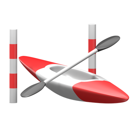 Canoe Slalom 3D Illustration