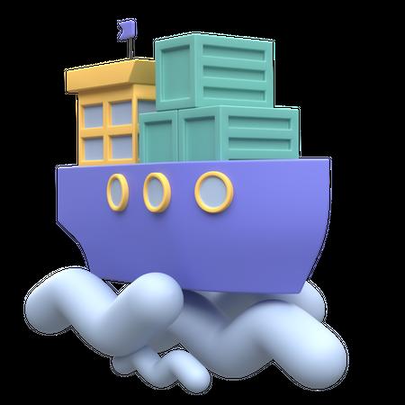 Cargo Ship 3D Illustration