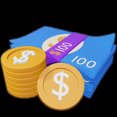 Cash 3D Illustration