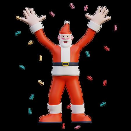 Celebrating Santa 3D Illustration