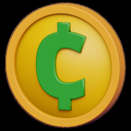 Cent Coin 3D Illustration