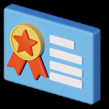 Certificate 3D Illustration
