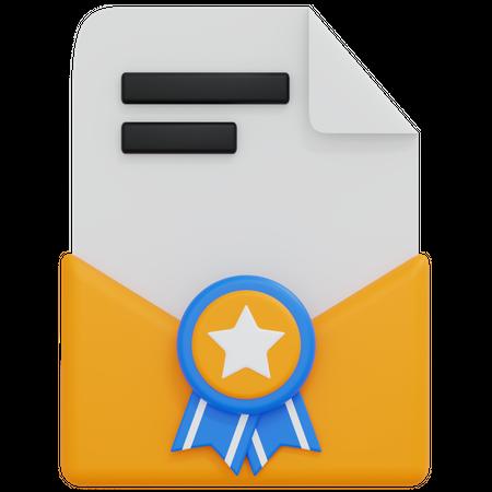 Certificate Envelope 3D Illustration