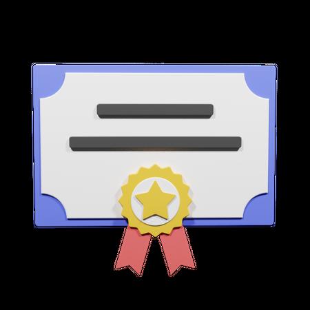 Certificate Of Achievement 3D Illustration