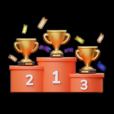Champion Ranking 3D Illustration