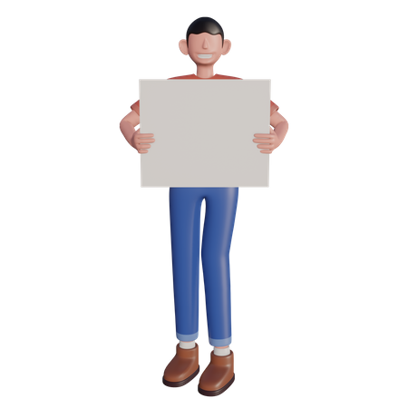 Character holding board 3D Illustration