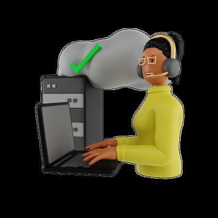 Check Cloud Connection 3D Illustration
