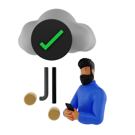 Check Cloud Network 3D Illustration